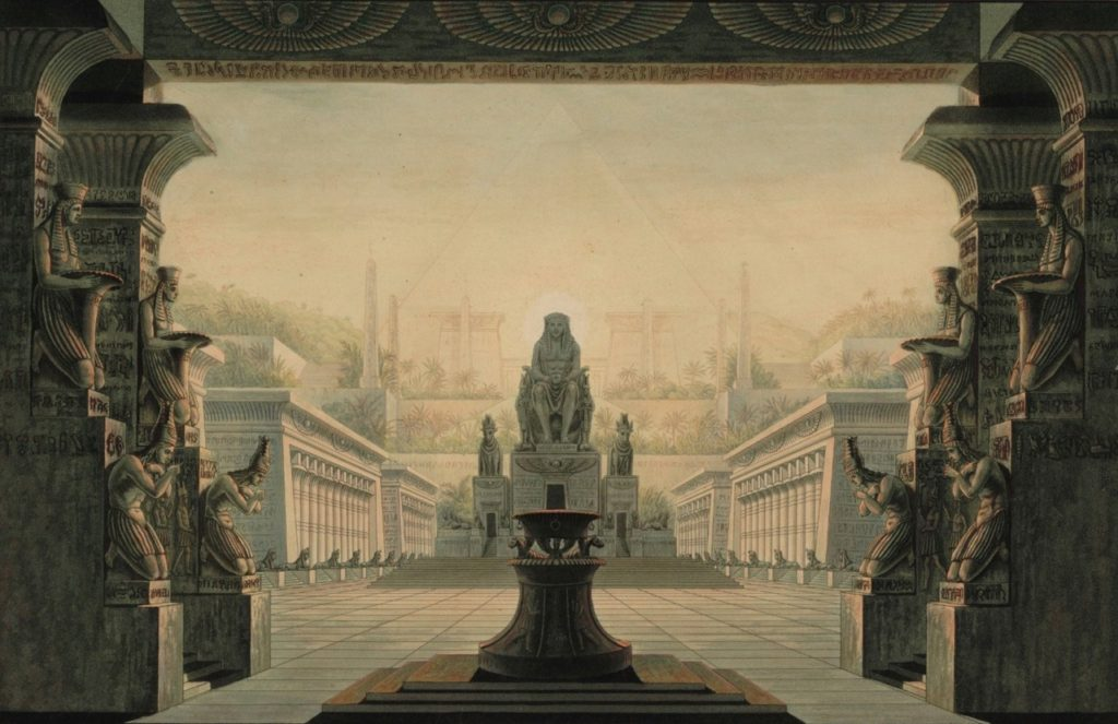 c okiorina : Karl Friedrich Schinkel The imaginative architecture of Sarastro's temple here is perhaps more Indian than Egyptian